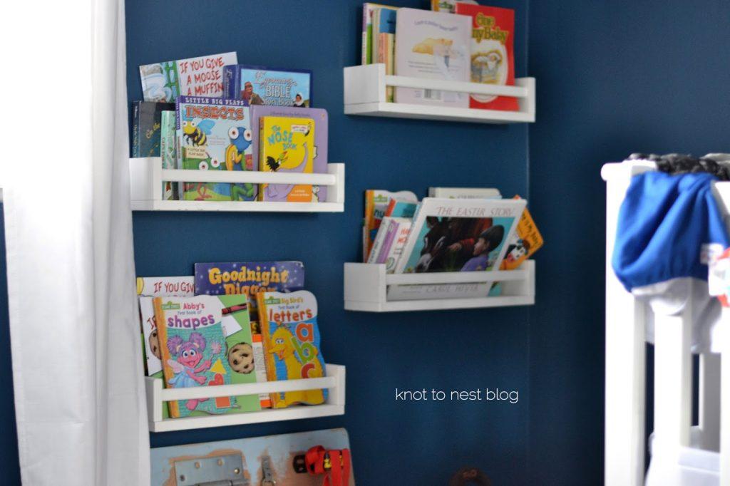 Book shelves in nursery