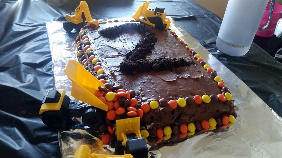 construction themed birthday cake. Homemade birthday cake idea.