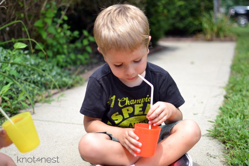 making juice with kids
