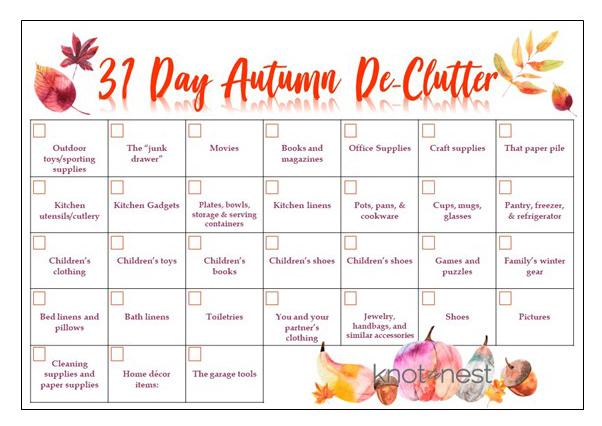 31 Day Autumn De-clutter Plan
