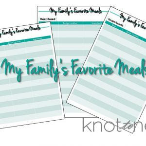 Favorite Meals organization to make meal planning easier