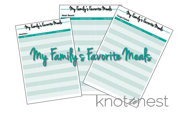 Favorite Meals Index organization to make meal planning easier