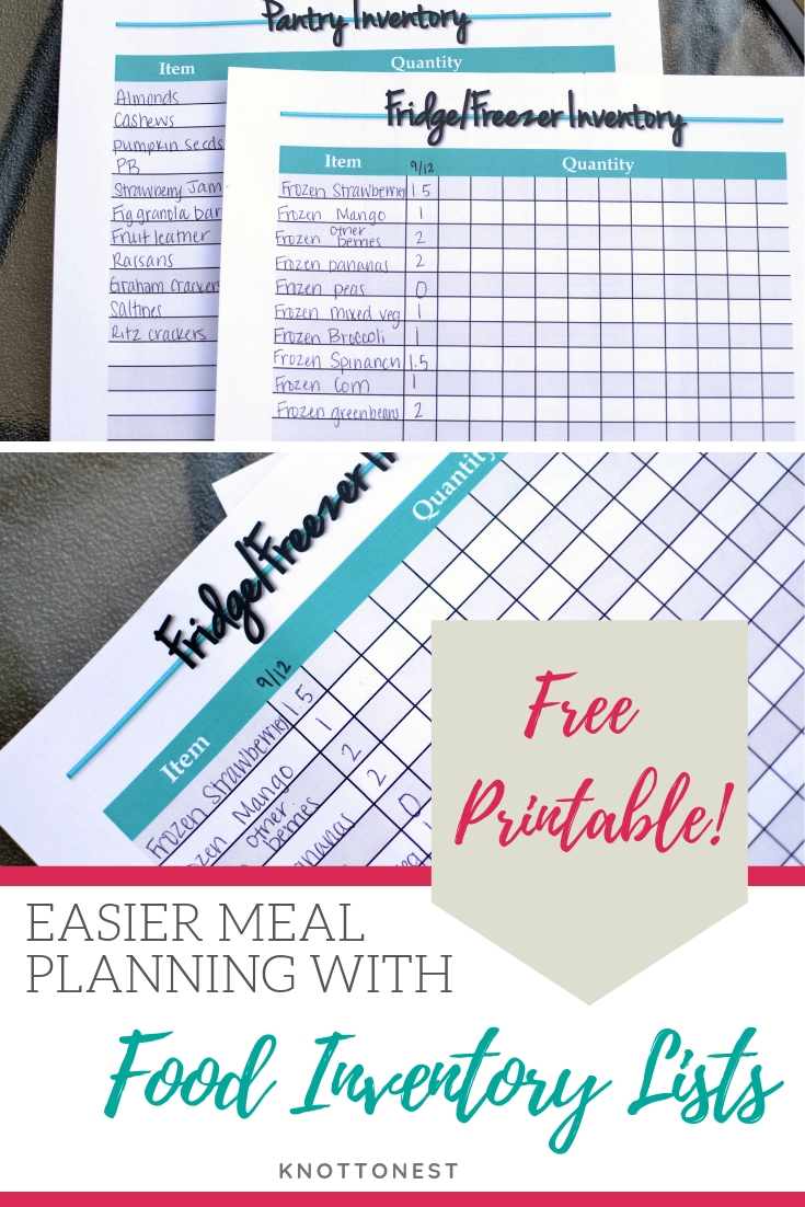 Easier meal planning with food inventory sheets. Free printable. Household binder printable. Great resource.
