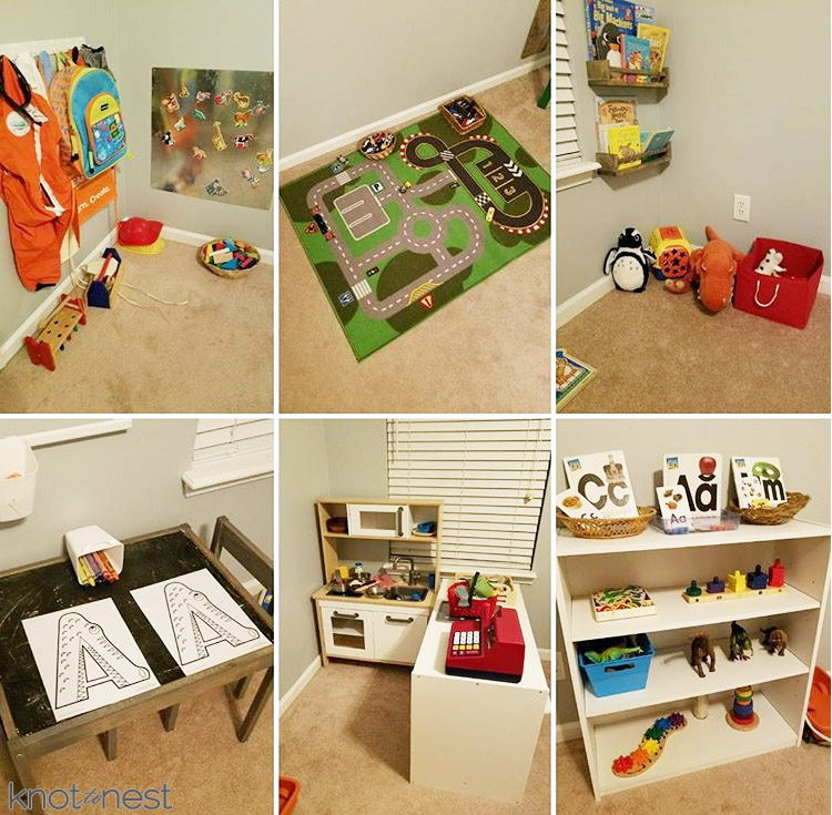 collage of playroom set up