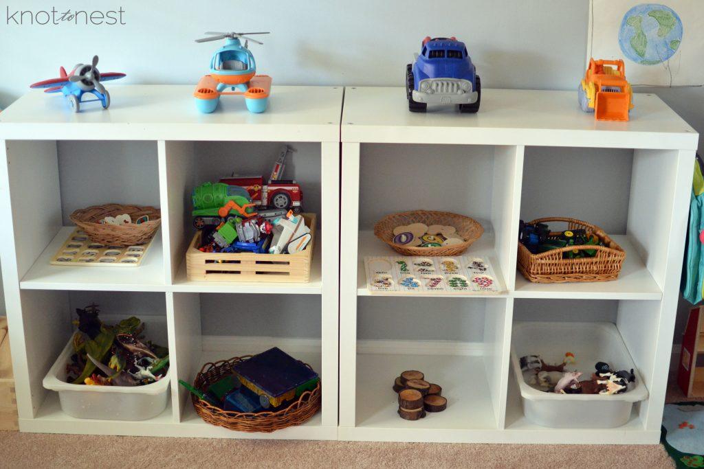 Toy shelf in playroom