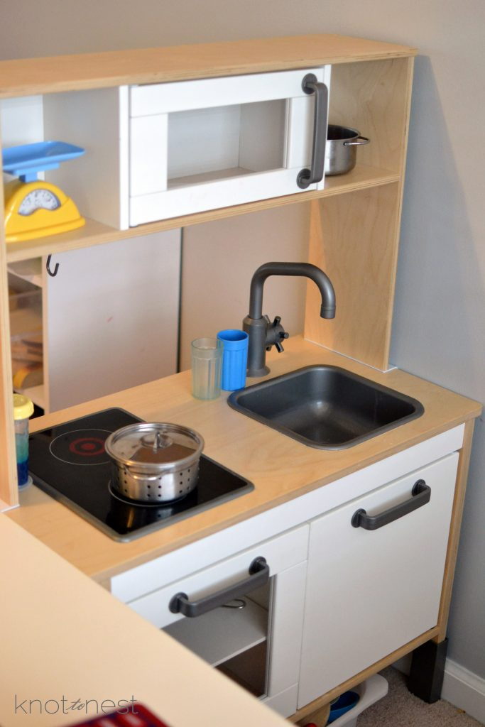Ikea wooden play kitchen set up for play