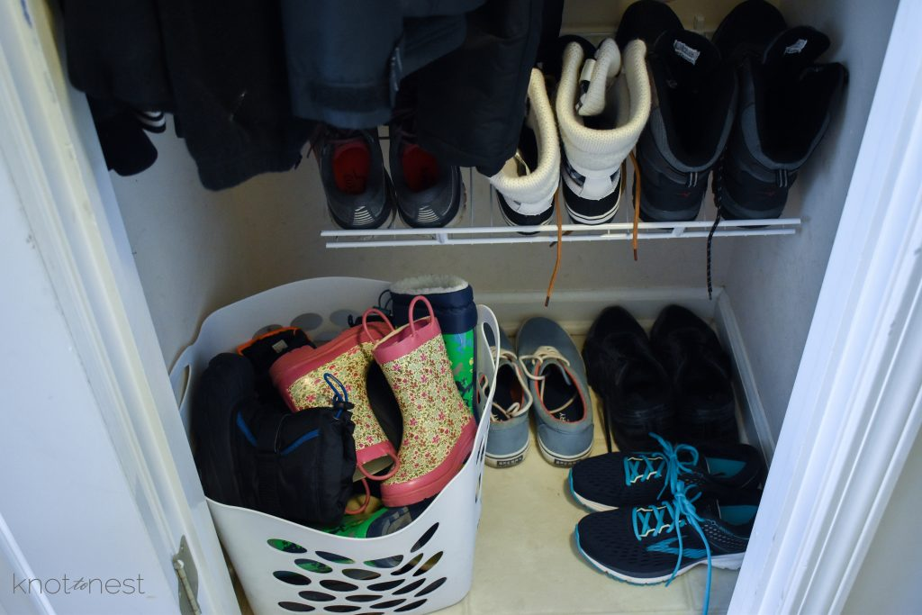 Seasonal gear organization. Tips for storing shoes and boots.