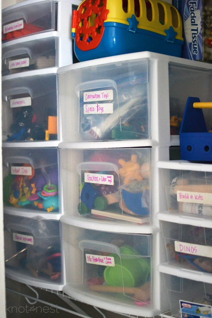 Toy storage and rotation using plastic drawers for storage