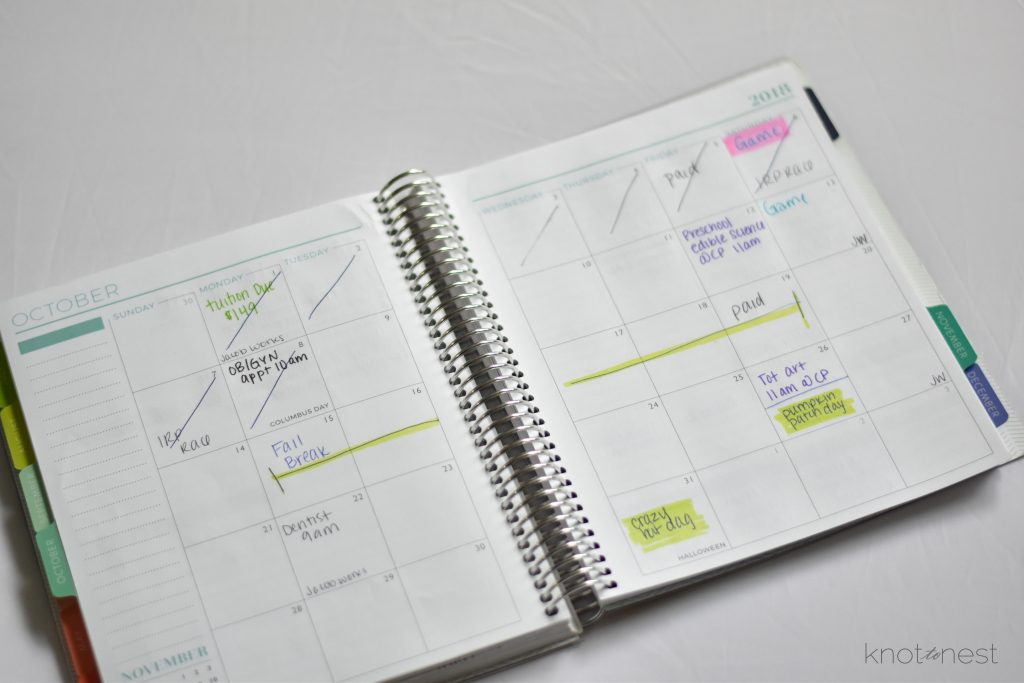 Using your monthly view to organize mental clutter