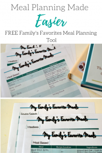 Easy to use FREE printable for easier meal planning.
