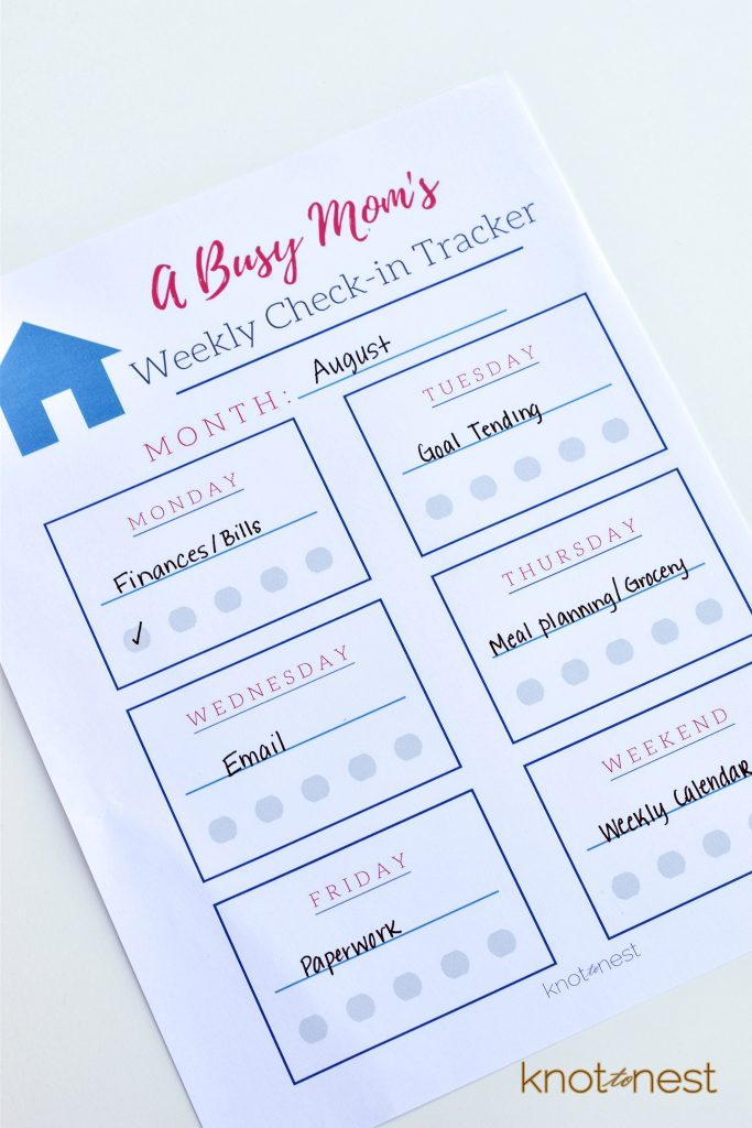 Busy mom weekly check-in
