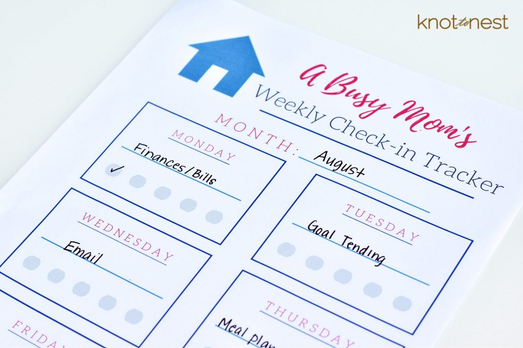 Busy moms weekly check-in plan